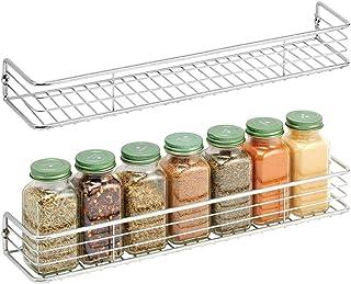 mDesign Zestaw 2 półek na przyprawy do montażu na ścianie – regał na przyprawy, składniki do pieczenia i preparaty witamin...