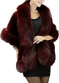 Women Luxury Faux Fur Coat Jackets Wrap Cape Shawl for Wedding Party