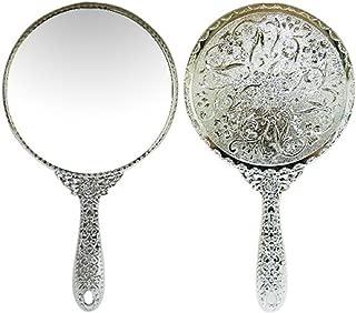 Sevenstar Vintage style Round Vanity Hand held Mirrors Purses Make Up Silver Mirror Large