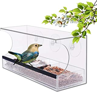 YestBuy Acrylic Bird Feeder - Bird Feeders for Outside – Clear Bird Feeder for Window – Acrylic Bird Cage Tray – Clear Bird House Feeder – Premium Bird Feeder with Tray & Compartments + Suction Cups …