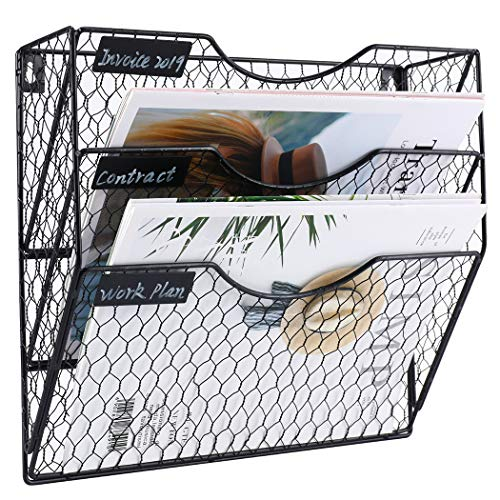 PAG Wall File Holder Hanging Mail Organizer Metal Chicken Wire Wall Mount Magazine Rack, 3-Tier, Black