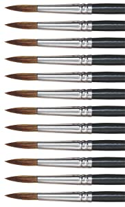 Dynasty 27878 Round Camel Hair Short Enameled Wood Handle Watercolor Paint Brush, Size 10, 1-1/16