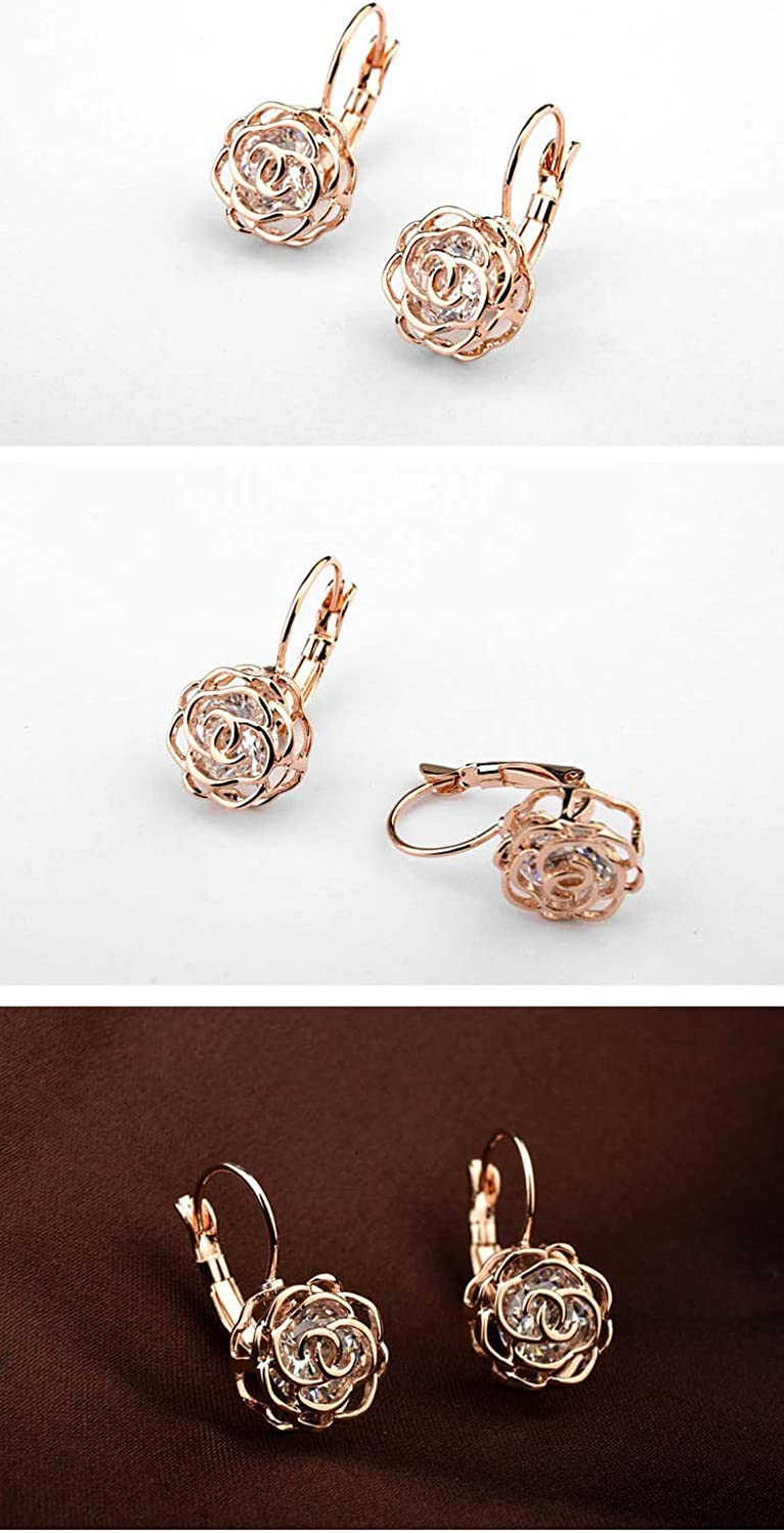 Crystal Line Azuria Rose Gold Jewelry: Crystal Rose Flower Necklace and Earrings Set for Women - Wedding Party, Bridal and Bridesmaid Accessories - 18 Karat Rose Gold Plated Pendant and Earring Sets