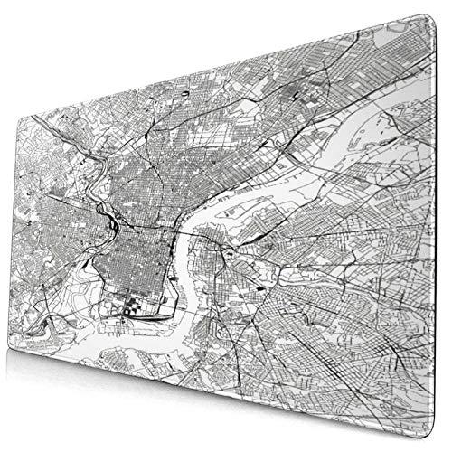 GKGYGZL Bonita Alfombrilla de ratón,Mapa de Filadelfia,Alfombrilla Rectangular de Goma Antideslizante para Escritorio,computadora portátil,Alfombrilla de Escritorio para Jugadores,15.8 'x29.5'