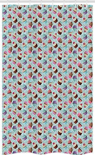 ABAKUHAUS Cupcake Schmaler Duschvorhang, Gebäck backt Kalligraphie zusammen, Badezimmer Deko Set aus Stoff mit Haken, 120 x 180 cm, Mehrfarbig