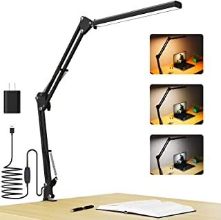 Desk Lamp with Clamp,LED Swing Arm Table Lamps,Blue Light Blocking Dimmable Architect Light,Adjustable 3 Color Temperatur...