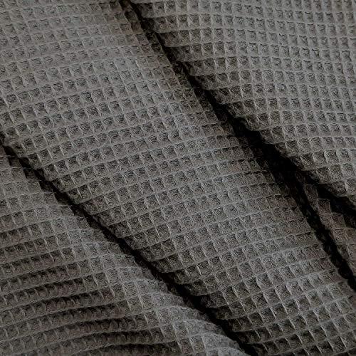 Stoff Meterware Waffelpique Waffelpiqué grau Handtuch Bademantel Waffelpikee