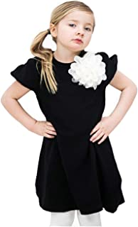 Áo quần dành cho bé gái – Girl Party Dress with Flower on Front, Princess Girl Dress for Special Occasions, Original Swedish Design
