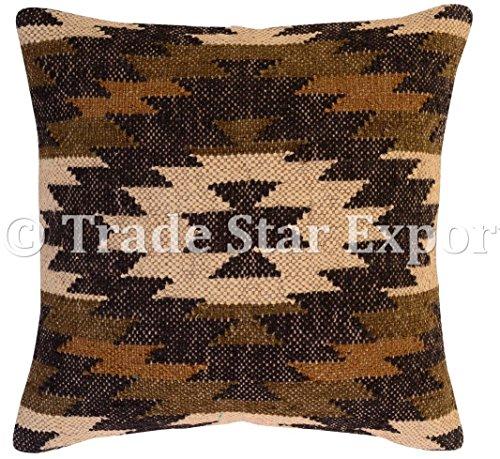 Best Deals! Kilim Pillow Cover 18x18, Handmade Cushions, Kelim Rug Pillow, Indian Jute Cushion Cover...