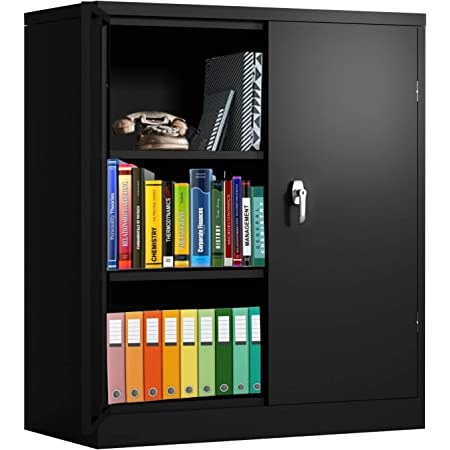 Amazon Com Steel Storage Cabinet With Doors Invie Lockable Metal Cabinet With 2 Adjustable Shelves Great For Garage Kitchen Pantry Office Patio And Laundry Room Black Kitchen Dining