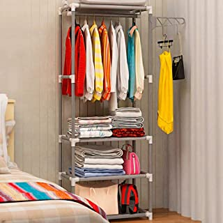 JHDDP3 Armoire Simple Metal Manteau de Fer Rack Plancher Vêtements Debout Suspension Plancher Tablette Vêtements Centrale ...