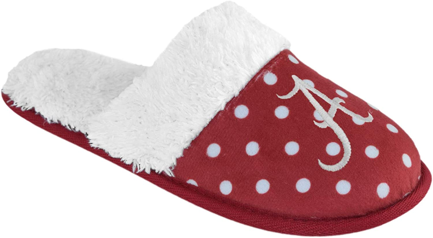 Campus Footnotes Women's Dotted Deluxe Comfort Fur Slipper Slides Pick Team -