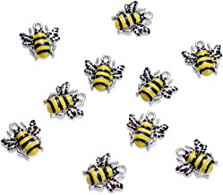 Craftdady 10Pcs Alloy Enamel Bee Charms 18x17mm DIY Jewelry Necklace Earring Bracelet Craft Making Animal Pendants with 2mm Hole