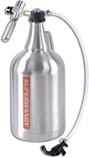 """SuperHandy Growler 1 Gallon 128 Ounce Stainless Steel Double Wall Insulated Tap Dispenser for Craft/Draft/Homebrew Beer 30PSI Regulator Relief Ring Food Grade use 12/16 Gram 3/8""""-24UNF Thread Cylinder"""