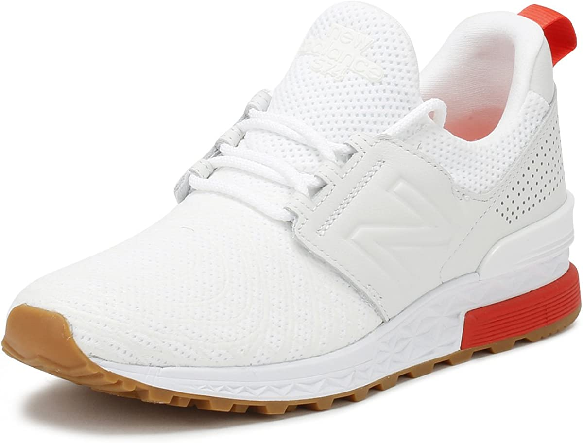New Balance Mens White/Flame 574 Sport