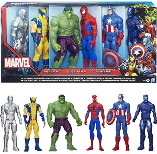 SUPER PACK 6 FIGURINES MARVEL AVENGERS RASSEMBLEMENT 30 CM WOLVERINE IRON MAN ARGENT (MARK II) HULK SPIDERMAN IRON MAN BLEU (STEAL) CAPTAIN AMERICA