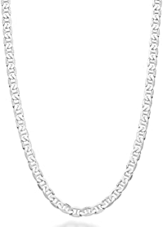 Miabella Solid 925 Sterling Silver Italian 3mm, 4mm, 6mm, 7mm Diamond-Cut Solid Flat Mariner Link Chain Necklace for Women...
