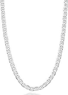 عقد ايطالي من الفضة الاسترليني 925 من ميابيلا 3 ملم، 4 ملم، 6 ملم، 7 ملم، سلسلة مسطحة صلبة للنساء والرجال، بطول 16-30 انش،...