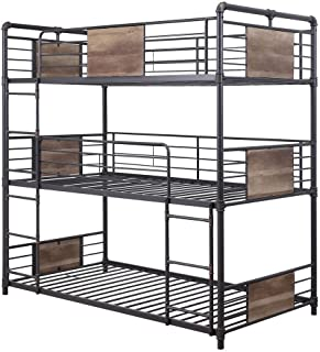 ACME Furniture Brantley Triple Bunk Bed, Sandy Black and Dark Bronze Hand-Brushed