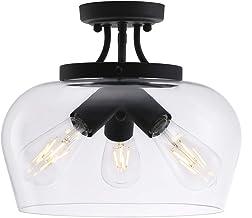 CO-Z Modern Industrial Clear Glass Shade Ceiling Light Fixture, 3 Bulb Matte Black Semi Flush Mount Ceiling Lighting Fixtu...