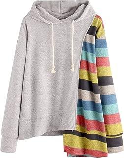 Kauneus Women's Novelty Stripes Patchwork High Low Tops Fashion Creative Autumn Long Sleeve Casual Hooded Sweatshirt