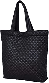 Comfortable light weight quilted market Tote water repellent Black