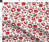 Spoonflower Fabric - Watercolor Garden Summer Fruit Vegetable Tomatoes Veggies Printed on Petal Signature Cotton Fabric by The Yard - Sewing Quilting Apparel Crafts Decor