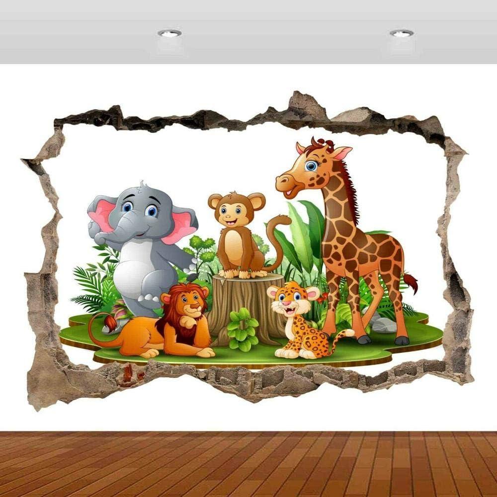 LHHYY Wall Stickers Max 82% OFF NEW Kids Nursery Animals Mural 3D Deca Lion Tree