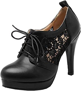 LOVOUO Escarpins Femme Talon Haut Aiguille Stiletto Plateforme Sexy Lacets Chaussures Dentelle 11CM