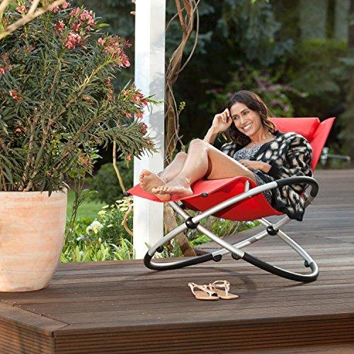 blumfeldt Chilly Billy ergonomische Relaxliege Liegestuhl Gartenstuhl Klappstuhl (Liege, 180 kg maximale Belastung, atmungsaktiv, witterungsbeständig, pflegeleicht, faltbar) rot - 3