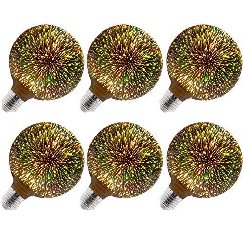 LIBAI Decorative 3D LED Bulb G125-E27 Cap Edison Bulb, AC85-265V LED Light with 3D Pyrotechnic Effect, 6 Packs,Warm White