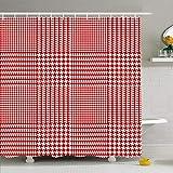 Ahawoso Duschvorhang Set mit Haken Hahnentritt Retro Muster für H&e Mäntel Plaid Quadrat Geometrischer Druck Abstrakte Texturen Wiederholen Sie wasserdichtes Polyestergewebe Bad Dekor für Badezimmer