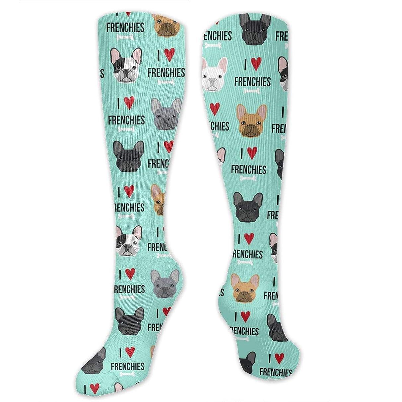 ブルラオス人流星靴下,ストッキング,野生のジョーカー,実際,秋の本質,冬必須,サマーウェア&RBXAA Women's Winter Cotton Long Tube Socks Knee High Graduated Compression Socks Frenchie Dog Fabric Socks