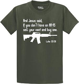 Comical Shirt Men`s Jesus Pro Guns AR15 Bible 22 36 Shirt Funny Gun T-Shirt