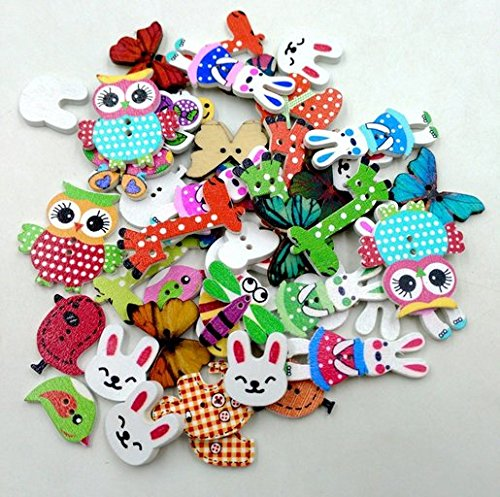 50PCS Animal Shape 2 Holes Mixed Wooden Buttons Sewing Craft Scrapbooking