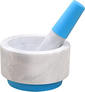 JTKDL Mortar and pestle set Marble 5 inches diameter (Color : Blue)