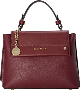 CHRISBELLA PU Leather Handbag for Women Classic Color Block Design Top Handle Bag Crossbody Purse