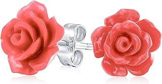 [ブリングジュエリー] 銀メッキ ポスト 3D ピーチ オレンジ色 立体 彫刻 ローズ 薔薇 レディース ティーン スタッド ピアス