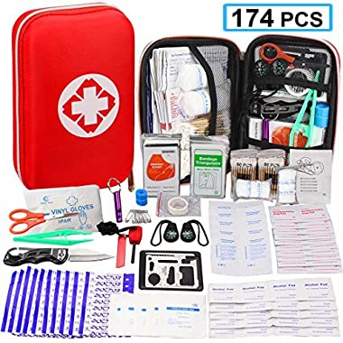 174 Pcs First Aid Kit Survival Kit, Monoki Emergency Survival Kit Gear Medical Supplies Trauma Bag Safety First Aid Kit for Home, Office, School, Car, Boat, Travel, Camping, Hiking, Sports, Adventures