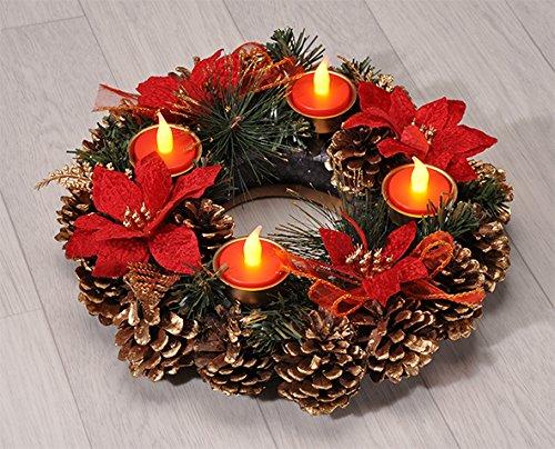 Haushalt International Adventskranz Weihnachtskranz mit LED Teelichtern 30,5 cm