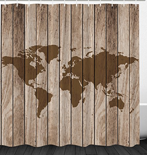 Ambesonne Vintage Old World Map Globe Wooden Antiqued Rustic Decor Polyester Fabric Bathroom Shower Curtain Set with Hooks