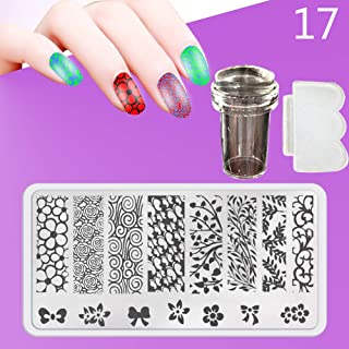 Zmond - New 12X6cm 44 Style Nail Stamping Plates Set Made Stencils Lace Flower DIY Nail Art Templates+Transparent Stamper Stamp Scraper [ 17 ]