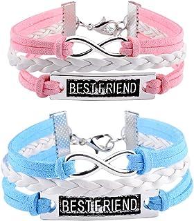 VU100 Infinity Charm Best Friend Bracelets for 2 Women Teen Girls Sister Friends Long Distance Relationship Friendship Mat...