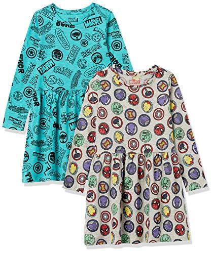 Spotted Zebra Disney Star Wars Frozen Princess Knit Long-Sleeve Play Dresses Kleid, Marvel-Symbole, 2 Stück, S