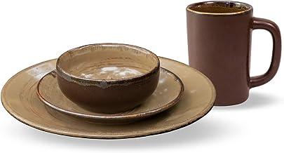 Anfora Vajilla de Porcelana 16 Piezas, Para 4 personas, Resistente a Horno de Microondas y Lavavajillas (La Tierra)