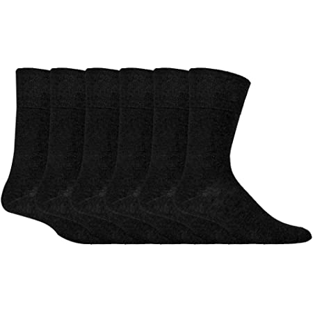 IOMI Footnurse - Mens 6 pack loose non elastic diabetic socks with hand linked toe seams