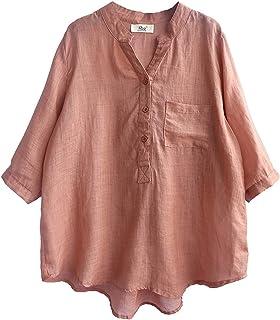 GUOQUN-SHOP Women Summer Cotton Linen Tshirt Tops Casual Loose Fit Tunic Tee Crewneck Blouse (Color : Orange, Size : One S...