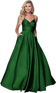 Zhongde Women's V Neck Open Back Beaded Spaghetti Strap Satin Prom Dress Long Party Evening Gown