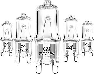 25W Especial Lámpara halógena G9 230V Para aplicaciones de horno y microondas 300℃Bombillas resistentes al calor , paquete de 5