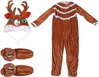 Disfraz de Reno Navideño Pijama de Cosplay de Ciervo Divertido con Gorro de Reno Calcetines Pijama de Reno Unisex Onesie para Mujer Hombre (S)